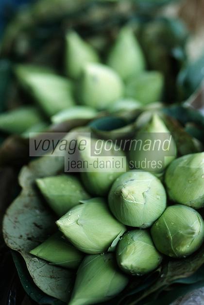 Thailande/Bangkok: Fleurs de Lotus détail d'un étal du marché Parklong