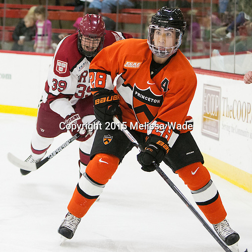 Brian Hart (Harvard - 39), Aaron Ave (Princeton - 28) - The Harvard University Crimson defeated the visiting Princeton University Tigers 5-0 on Harvard's senior night on Saturday, February 28, 2015, at Bright-Landry Hockey Center in Boston, Massachusetts.