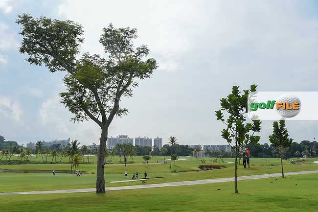 A wide view of a threesome on 16 during Rd 4 of the Asia-Pacific Amateur Championship, Sentosa Golf Club, Singapore. 10/7/2018.<br /> Picture: Golffile | Ken Murray<br /> <br /> <br /> All photo usage must carry mandatory copyright credit (© Golffile | Ken Murray)