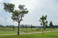 A wide view of a threesome on 16 during Rd 4 of the Asia-Pacific Amateur Championship, Sentosa Golf Club, Singapore. 10/7/2018.<br /> Picture: Golffile | Ken Murray<br /> <br /> <br /> All photo usage must carry mandatory copyright credit (&copy; Golffile | Ken Murray)