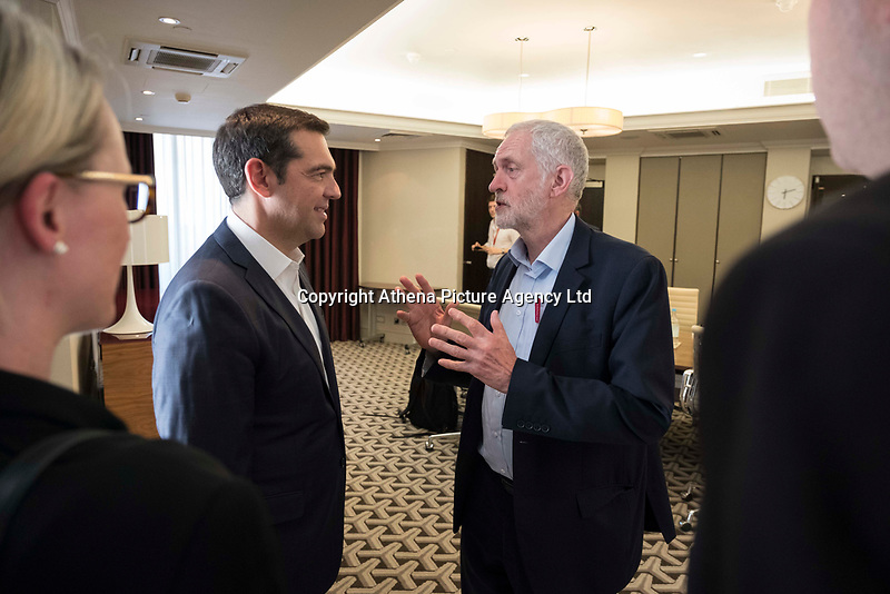 Pictured: Alexis Tsipras meets Labour Party leader Jeremy Corbyn in London, UK. Tuesday 26 June 2018<br /> Re: Greek Prime Minister Alexis Tsipras is on a three day visit to London, UK.
