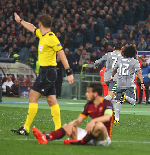 17.02.2016. Stadio Olimpico, Rome, Italy. UEFA Champions League, Round of 16 - first leg, AS Roma versus Real Madrid. Cristinao RONALDO turns to celebrate scoring in the 57th minute for 0-1