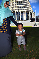 Faiza Abukar with her son Hashim Abait after the petition presentation. Semi-automatic weapons ban and firearms advertising regulation petitions at Parliament in Wellington, New Zealand on Thursday, 21 March 2019. Photo: Dave Lintott / lintottphoto.co.nz