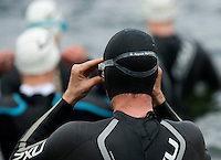 09 MAY 2010 - GRENDON, GBR - A competitor waits for the start of his wave at the Grendon Triathlon (PHOTO (C) NIGEL FARROW)