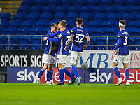 4th January 2020; Cardiff City Stadium, Cardiff, Glamorgan, Wales; English FA Cup Football, Cardiff City versus Carlisle; Gavin Whyte of Cardiff City celebrates after scoring his sides second goal in the 55th minute to make the score 2-2 - Strictly Editorial Use Only. No use with unauthorized audio, video, data, fixture lists, club/league logos or 'live' services. Online in-match use limited to 120 images, no video emulation. No use in betting, games or single club/league/player publications