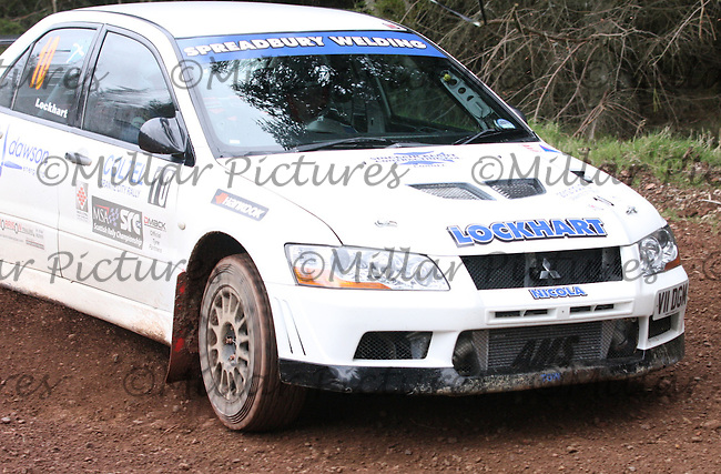 Stephen Lockhart / Kevin Lockhart in a Mitsubishi Evolution 7 at Junction 8 on Whytes Cranes Special Stage 3 Drumtochty of the Coltel Granite City Rally 2012 which was based at the Thainstone Agricultural Centre, Inverurie.