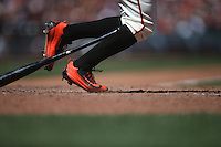 SAN FRANCISCO, CA - JULY 9:  Detail of Nike cleats worn by Denard Span #2 of the San Francisco Giants as he bats against the Arizona Diamondbacks during the game at AT&T Park on Saturday, July 9, 2016 in San Francisco, California. Photo by Brad Mangin