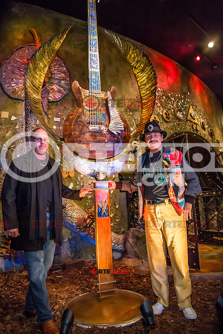 LAS VEGAS, NV - January 16 : Artist Dale Evers and Carlos Santana pictured as House of Blues Las Vegas unveils 13-foot high guitar sculpture ?Wings of Legend? that will commemorate the return of Carlos Santana's residency: An Intimate Evening with Santana: Greatest Hits Live - Yesterday, Today & Tomorrow and continue the 20th Anniversary celebration of the House of Blues brand at House of Blues at Mandalay Bay in Las Vegas, Nevada on January 16, 2013. Credit: Kabik/Starlitepics/MediaPunch Inc. ***HOUSE COVERAGE*** /NortePhoto
