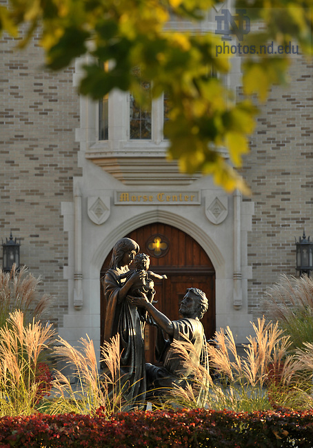 North door of Coleman-Morse with Holy Family statue..Photo by Matt Cashore/University of Notre Dame