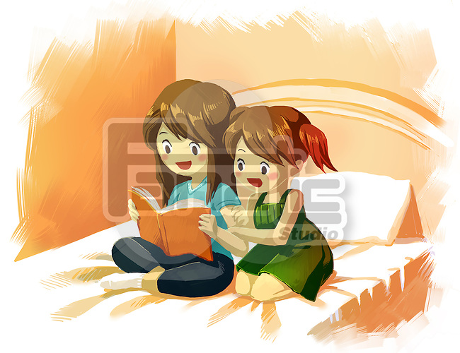 Illustration of sisters reading storybook together on bed