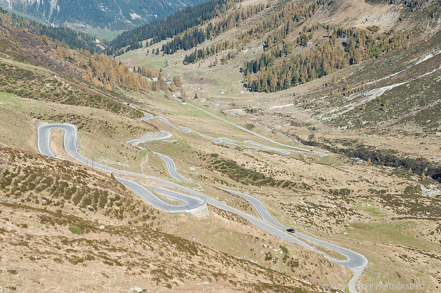 Switzerland, Graubünden, Splügenpass, Alpine Pass, Border Switzerland Italy