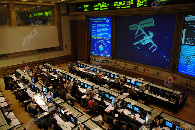Technicians at Mission Control Centre in Korolyev, outside of Moscow, watched the course of the International Space Station and the Soyuz TMA-12 spacecraft minutes before they were due to dock. Russia, April 10, 2008