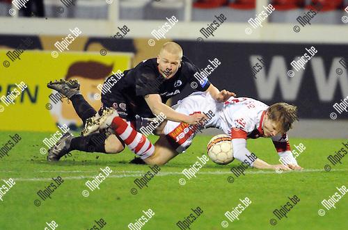 2016-01-30 / Voetbal / Seizoen 2015-2016 / R. Antwerp FC - KSK Heist / Jules Van Cleemput (Heist) kreeg rood voor deze fout op Nico Binst<br /> <br /> Foto: Mpics.be