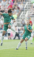 Kia McNeil heads on goal,..Saint Louis Athletica and LA Sol, played to a 0-0 tie at Robert Hermann Stadium in St Louis, MO. April 25 2009.