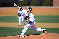 Bucknell Bison relief pitcher Jordan Holtz (32) delivers a pitch to the plate against the Georgetown Hoyas at Wake Forest Baseball Park on February 14, 2015 in Winston-Salem, North Carolina.  The Hoyas defeated the Bison 8-5.  (Brian Westerholt/Four Seam Images)