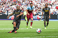 Sergio Aguero of Manchester City takes a penalty that is saved but VAR decides the penalty must be re-taken during the Premier League match between West Ham United and Manchester City at the London Stadium, London, England on 10 August 2019. Photo by David Horn.