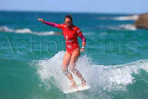 14.08.2016. Newquay, England. Board Masters Surfing Competition Sunday.  Rachael Tilly USA is runner up in the Longboard championship.