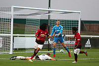 Tahith Chong scores Manchester United U23's second and celebrates with Angel Gomes during Fulham Under-23 vs Manchester United Under-23, Premier League 2 Football at Motspur Park on 10th August 2018