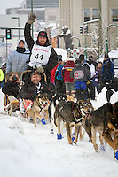 Aaron Burmeister leaves the 2011 Iditarod ceremonial start line in downtown Anchorage, during the 2012 Iditarod..Jim R. Kohl/Iditarodphotos.com