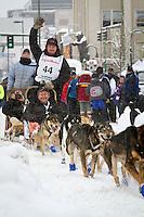 Aaron Burmeister leaves the 2011 Iditarod ceremonial start line in downtown Anchorage, during the 2012 Iditarod..Jim R. Kohl/Iditarodphotos.com