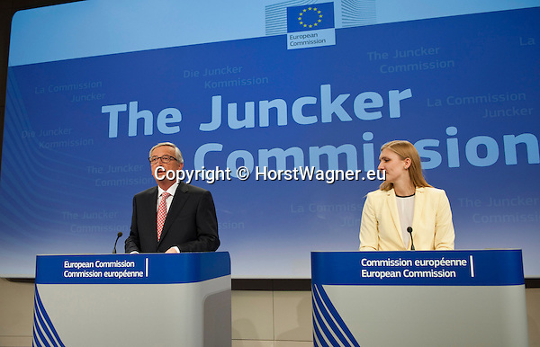 Belgium, Brussels - September 10, 2014 -- Press conference by Jean-Claude JUNCKER, President-elect of the upcoming European Commission, to announce the attribution of portfolios to the Commissioners-designate; at the HQ of the EC, here with Natasha BERTAUD, member of the future team of spokespersons -- Photo © HorstWagner.eu