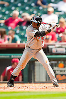 Jamodrick McGruder #2 of the Texas Tech Red Raiders at bat against the Arkansas Razorbacks at Minute Maid Park on March 2, 2012 in Houston, Texas.  The Razorbacks defeated the Red Raiders 3-1. (Brian Westerholt/Four Seam Images)