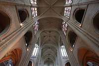 OISE, FRANCE - OCTOBER 26: Low angle view of the ceiling of the nave of the Cathedral Notre-Dame de Senlis on October 26, 2008 in Oise, France. The cathedral was built between 1153 and 1191. (Photo by Manuel Cohen)