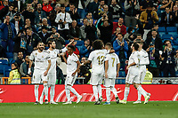 30th October 2019; Estadio Santiago Bernabeu, Madrid, Spain; La Liga Football, Real Madrid versus Leganes; Sergio Ramos (Real Madrid)  celebrates his goal which made it 3-0 from the penalty spot in the 24th minute - Editorial Use