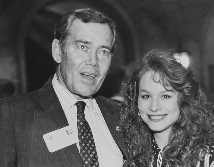 Rep. Craig L. Thomas, R-Wyo., with Holly Kindler, Cherry Blossom Princess of Wyoming State Society in Department of Agriculture Administration building reception honoring Cherry Blossom Princess from Colorado and Wyoming on April 3, 1990. (Photo by Maureen Keating/CQ Roll Call via Getty Images)