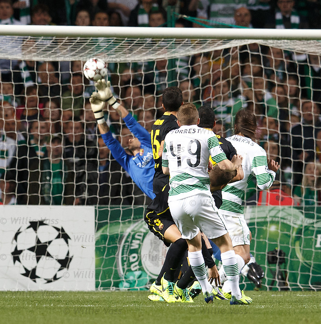 James Forrest cracks in a shot which is saved by Valdes