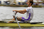 Rowing, Head of the Charles Regatta, Cambridge, Boston, Charles River, Massachusetts, New England, USA, Tom Paradiso competing in America's largest rowing regatta, Empacher single racing shell
