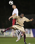 14 November 2008: Maryland's Omar Gonzalez (left) and Boston College's Edvin Worley (6). The University of Maryland defeated Boston College 1-0 at WakeMed Stadium at WakeMed Soccer Park in Cary, NC in a men's ACC tournament semifinal game.