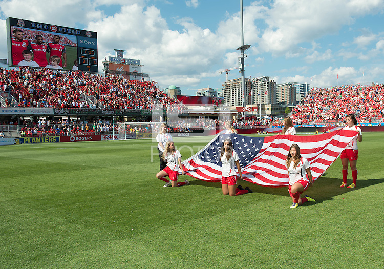 July 28, 2012: The opening ceremonies during a game between Toronto FC and the Houston Dynamo at BMO Field in Toronto, Ontario Canada..The Houston Dynamo won 2-0.