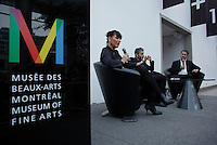 April 19, 2014 - Nathalie Bondil, Director and Curator, Museum of Fine Arts, Montreal (L), John Zeppetellim General Mangaer and Curaror, Museum of Contemporary Arts (M), Montreal and Stephane Aquin, Curator - Contemporary Arts at Museum of Fine Arts, Montreal present 1+ 1 = 1 ; a joint exhibit between the 2 Museums<br /> <br /> DE Gauche a Droite : Nathalie Bondil, directrice et conservatrice en chef du MBAM , John Zeppetelli, directeur general et conservateur en chef du MAC (M) et Stephane Aquin, conservateur de l&rsquo;art contemporain au MBAM pe&eacute;sente une exposition mettant en sc&egrave;ne un croisement entre les collections d&rsquo;art contemporain des deux institutions : 1 + 1 = 1. Quand les collections du Musee des beaux-arts et du Musee d&rsquo;art contemporain de Montreal conversent.