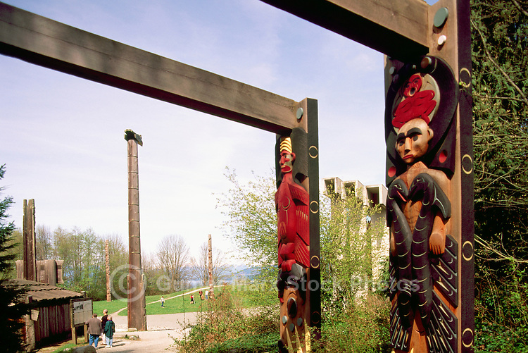 Coast Salish House Posts at Museum of Anthropology, University of British Columbia (UBC), Vancouver, BC, British Columbia, Canada (Artist - Susan A. Point)