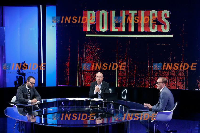 Claudio Cerasa, Gianluca Semprini e Tommaso Cerno<br /> Roma 07-09-2016 Rai, trasmissione televisiva 'Politics'.<br /> Rome 7th September 2016 Tv show 'Politics'.<br /> Photo Samantha Zucchi Insidefoto