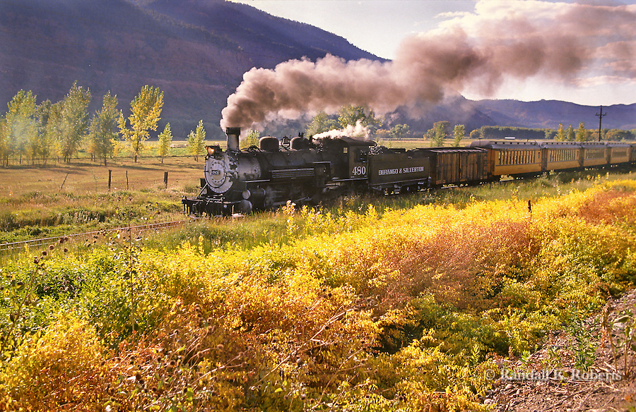 Durango & Silverton Narrow Gauge Railroad leaves Durango, Colorado.