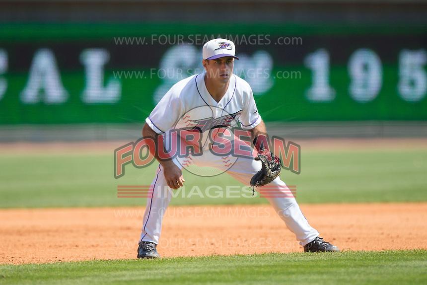 Winston-Salem Dash third baseman Ethan Wilson (2) on defense against the Carolina Mudcats at BB&T Ballpark on April 22, 2015 in Winston-Salem, North Carolina.  The Dash defeated the Mudcats 4-2..  (Brian Westerholt/Four Seam Images)