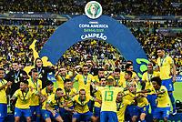 Rio de Janeiro (RJ), 07/07/2019 - Copa América / Final / Brasil x Peru -  A seleção Brasileira durante premiação de Campeão da Copa América, no Estádio Maracanã, neste domingo, 07 (Foto: Ricardo Botelho/Brazil Photo Press)