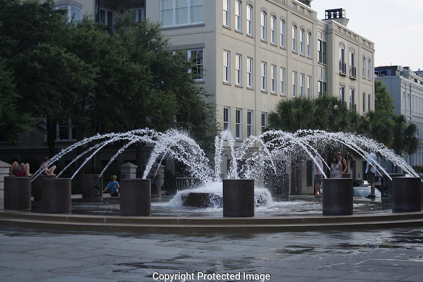 """If you visit Charleston during the """"steamy summer"""", you just might want to take a breather here at the Pineapple Fountain at the Waterfront Park. If you have little ones with you, they will love the cooling effect of the fountain's spray units."""