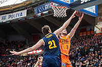 VALENCIA, SPAIN - MARCH 5: Sam Van Brossom  And Tibor Pleis during EURO CUP match between Valencia Basket Club and Bascelona F.C. Basket at Fonteta Stadium on March 22, 2015 in Valencia, Spain