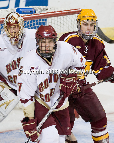 John Muse (BC - 1), Carl Sneep (BC - 7), Tony Lucia (Minnesota - 12) - The Boston College Eagles defeated the University of Minnesota Golden Gophers 5-2 on Saturday, March 29, 2008, in the NCAA Northeast Regional Semi-Final at the DCU Center in Worcester, Massachusetts.