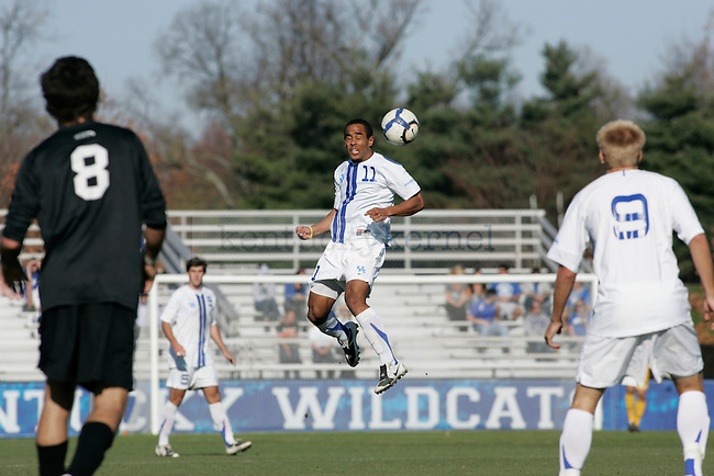 UK's senior midfielder George Davis IV headbutts the ball during the men's soccer game against High Point University at the Soccer and Softball Complex on Sunday afternoon, Nov. 8, 2009. The Wildcats won 2-0 to the Panthers. Photo by Adam Wolffbrandt | Staff