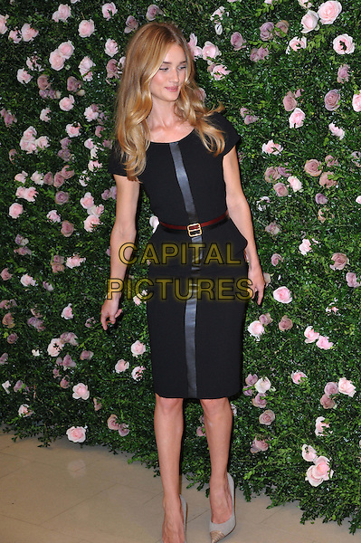 Rosie Huntington-Whiteley.launches her first ever lingerie collection for high street retailer M&S , inspired by the 1920s and her own work as an underwear model. Marks and Spencer, London, England..August 30th, 2012.full length black dress brown stripe belt maroon burgundy beige shoes.CAP/BF.©Bob Fidgeon/Capital Pictures.