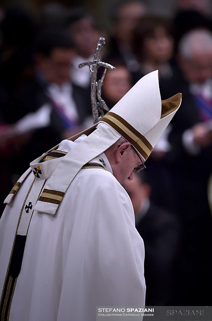 Pope Francis  during a mass on Christmas eve marking the birth of Jesus Christ on December 24, 2016 at St Peter's basilica in the Vatican.