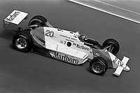 INDIANAPOLIS, IN - MAY 31: Emerson Fittipaldi drives his  March 86C 15/Cosworth during practice for the Indianapolis 500 USAC Indy Car race at the Indianapolis Motor Speedway in Indianapolis, Indiana, on May 31, 1986.