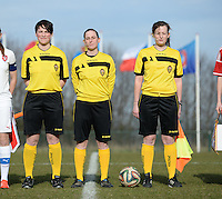 20150307 - TUBIZE , BELGIUM : Belgian Referees pictured with   Valerie Uyttersprot (left) , Kim Depickere (middle) and Jolien Delcroix (right) during the friendly female soccer match between Women under 19 teams of  Belgium and Czech Republic . Saturday 7th March 2015 . PHOTO DAVID CATRY