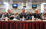 Former Nevada Govs. Robert List, left, and Richard Bryan, right, join Gov. Brian Sandoval in urging lawmakers to support Sandoval's plan to overhal the state's business license fee system, during a hearing at the Legislative Building in Carson City, Nev., on Wednesday, March 18, 2015. (Cathleen Allison/Las Vegas Review-Journal)