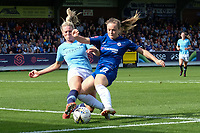 Gemma Bonner of Manchester City Women blocks a shot on goal from Erin Cuthbert of Chelsea Ladies during Chelsea Women vs Manchester City Women, FA Women's Super League FA WSL1 Football at Kingsmeadow on 9th September 2018