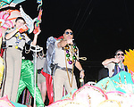 Scenes from Mardi Gras in New Orleans, 2009.  Cast members of Reno 911 have fun with the crowd.